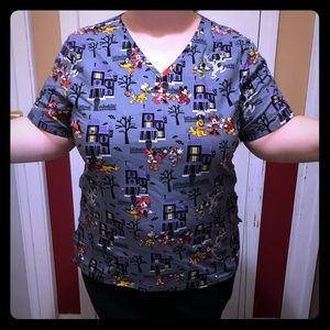 Mickey Mouse Halloween Scrub Top XL